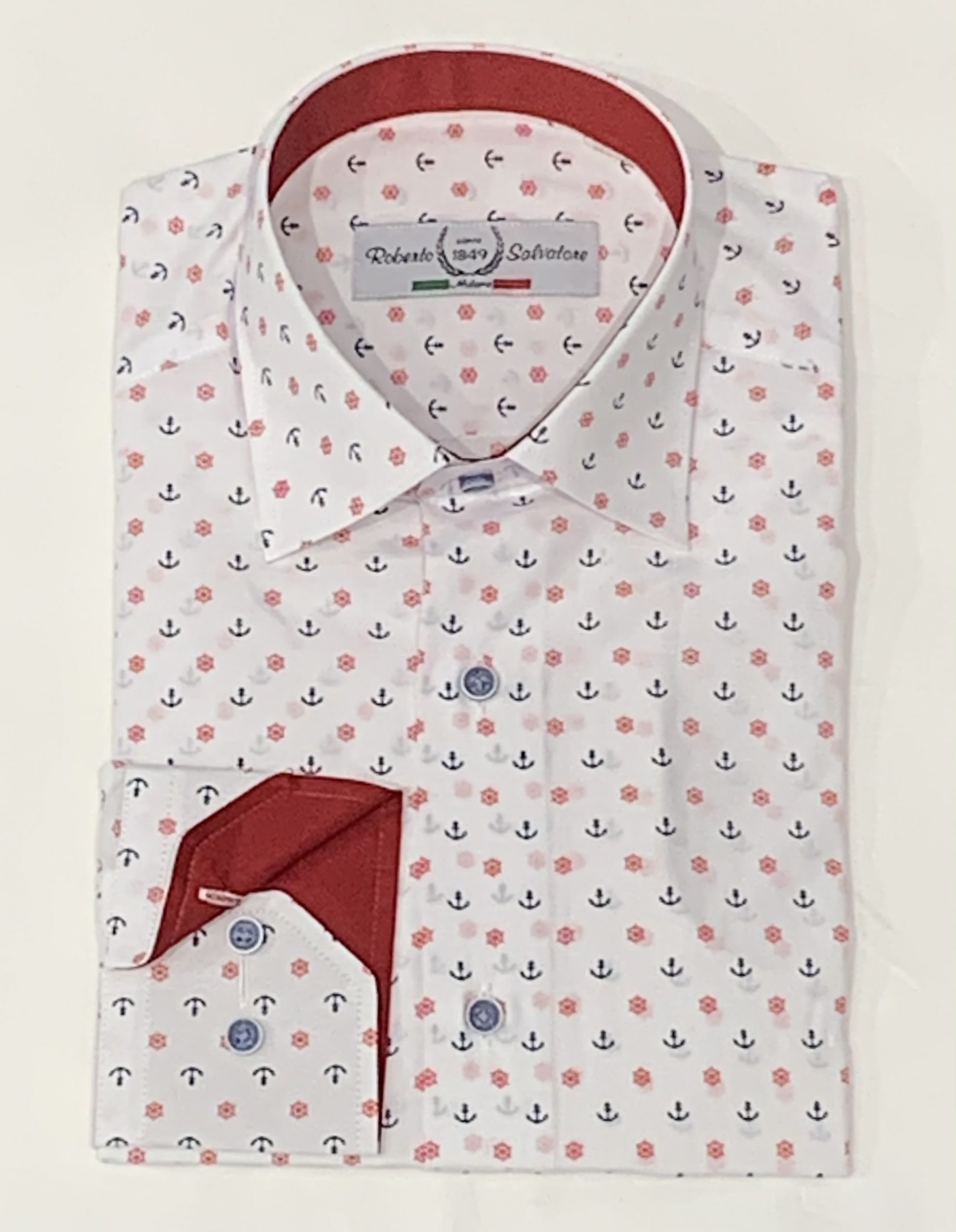 Roberto Salvatore-Shirt Slimfit-White and Red-Steering wheel and Sea anchors