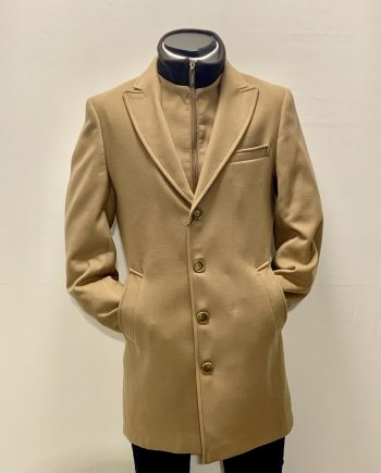 cashmere and wool coat, mantel-camel, lightbrown-stormflap with zipper-robertosalvatore